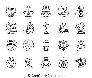 charbon de bois, dessiner, ensemble, jardin, icônes, vecteur, ligne