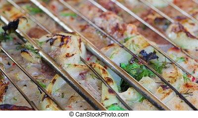 charbon de bois, grillé, closeup, viande