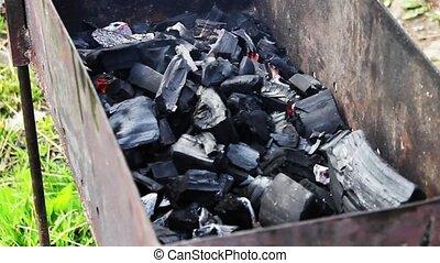 charbon de bois, remué, incandescent, crosse, incandescent