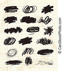 charbon de bois, texture, main, craie, brush., dessiné, gribouiller