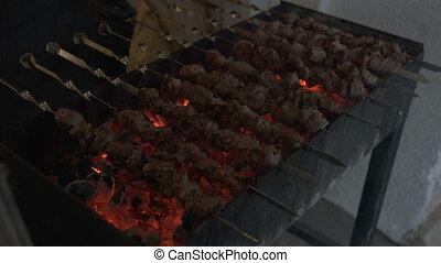 charbon de bois, viande, cuisine, gril, picnic., barbecue