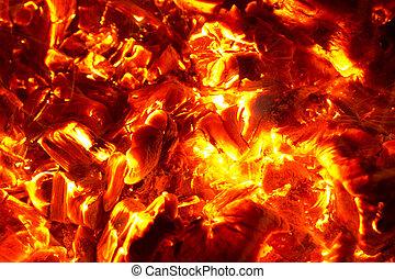 charbon, fond, brûlé