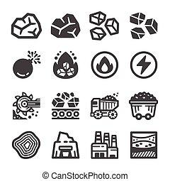 charbon, icône, ensemble