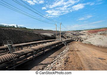 charbon, ligne, traitement, transport
