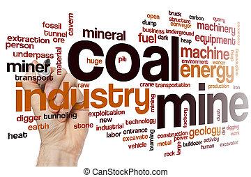 charbon, mot, mine, nuage