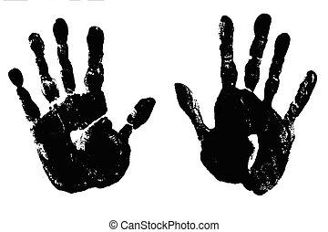 charbon, noir, handprints
