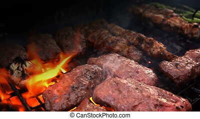 charbon, nourriture, barbecue, cuisine, viande, brûler