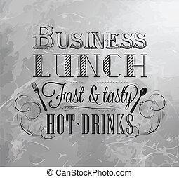 charbon, planche, déjeuner, business