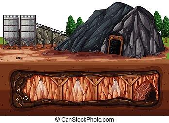 charbon, souterrain, au-dessus, mine