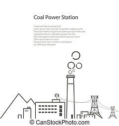 charbon, station, conception, puissance, aviateur