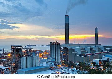 charbon, station, puissance