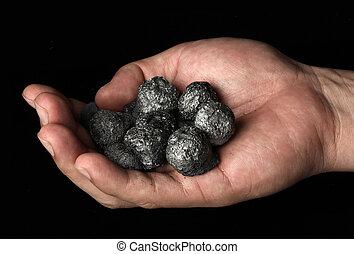 charbon, tenant main, tas