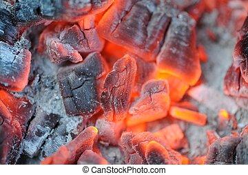 charbons, rouge chaud, brûlé