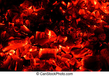 charbons, rouge chaud, fond