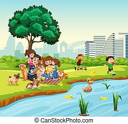 charca, pato, picnic, familia , luego