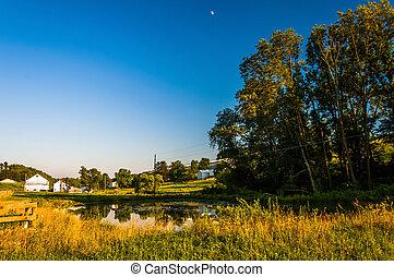 charca, y, árboles, en, un, granja, en, rural, york, condado, pennsylvania.