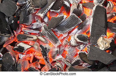 charcoal background with red fire