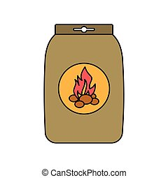 Charcoal bag for barbecue cartoon icon