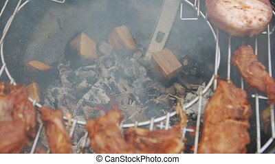 Charcoal Barbecue Burning - Charcoal barbecue burning meat ...