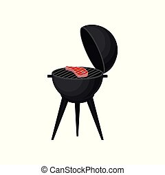 Charcoal barbecue grill with grilled meat vector Illustration on a white background