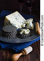 Charcoal Biscuits and Stilton Cheese - Mature English...