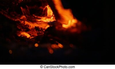 Charcoal burn and spark sparks - Embers and ashes of mighty...