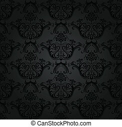 Charcoal floral seamless wallpaper. This image is a vector ...