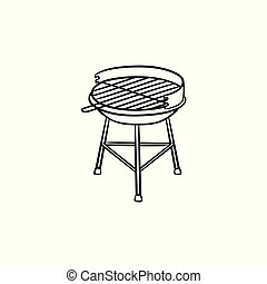 Charcoal grill hand drawn sketch icon.