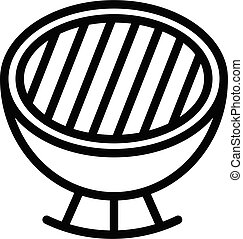Charcoal grill icon, outline style - Charcoal grill icon. ...
