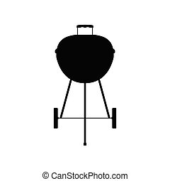 Charcoal grill kettle barbecue icon, simple vector ...