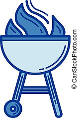 Charcoal grill line icon. - Charcoal grill vector line icon ...