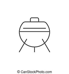 Charcoal grill line outline icon isolated on white. Vector illustration