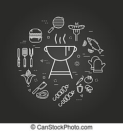 Charcoal Grill on black - Vector round linear concept of ...