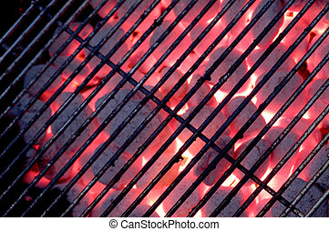charcoal grill - grate on charcoal grill with flames