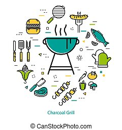 Charcoal Grill - round concept - Vector round linear concept...