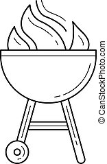Charcoal grill vector line icon. - Charcoal grill vector ...