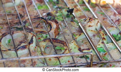 Charcoal grilled meat in closeup