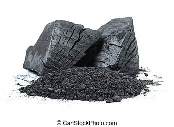 Charcoal isolated on the white background .