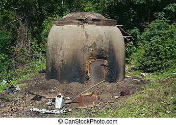 Charcoal kiln close-up - Charcoal kiln near a highway in...