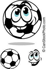 charcter, balle, football, dessin animé, football, ou