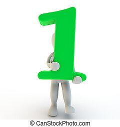 charcter, human, numere um, verde, segurando, 3d