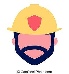 charcter, pompier, dessin animé, figure