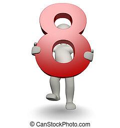 charcter, segurando, numere oito, human, 3d
