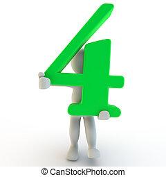 charcter, segurando, numere quatro, verde, human, 3d