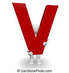 charcter, umano, v, lettera, presa a terra, rosso, 3d