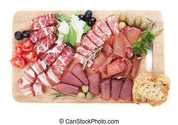 Charcuterie board isolated on white - Charcuterie board with...