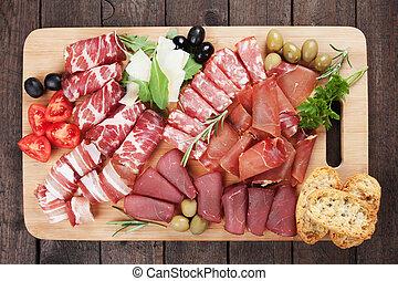 Charcuterie board - Charcuteri board with prosciutto,...