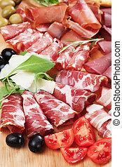 Charcuterie board with italian style cured meat, capocollo, pancetta, bresaola, salami and prosciutto