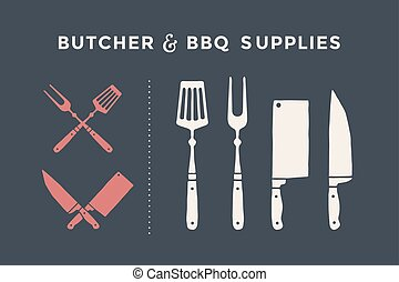 charcutier, fournitures, barbecue