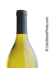 Chardonnay Wine Bottle over white background